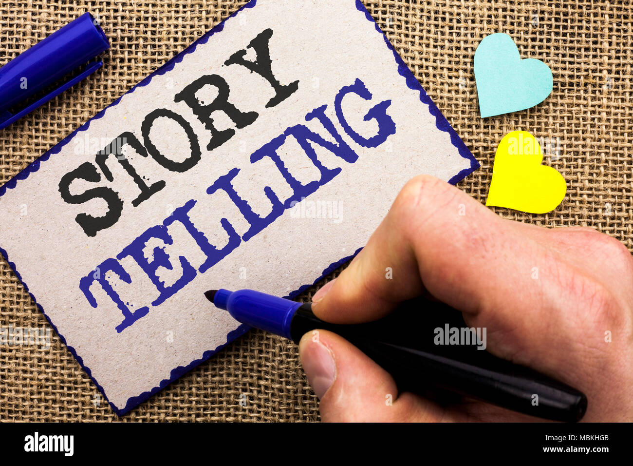 Conceptual hand writing showing Story Telling. Business photo showcasing Tell or write short Stories Share Personal Experiences written Sticky Note th - Stock Image