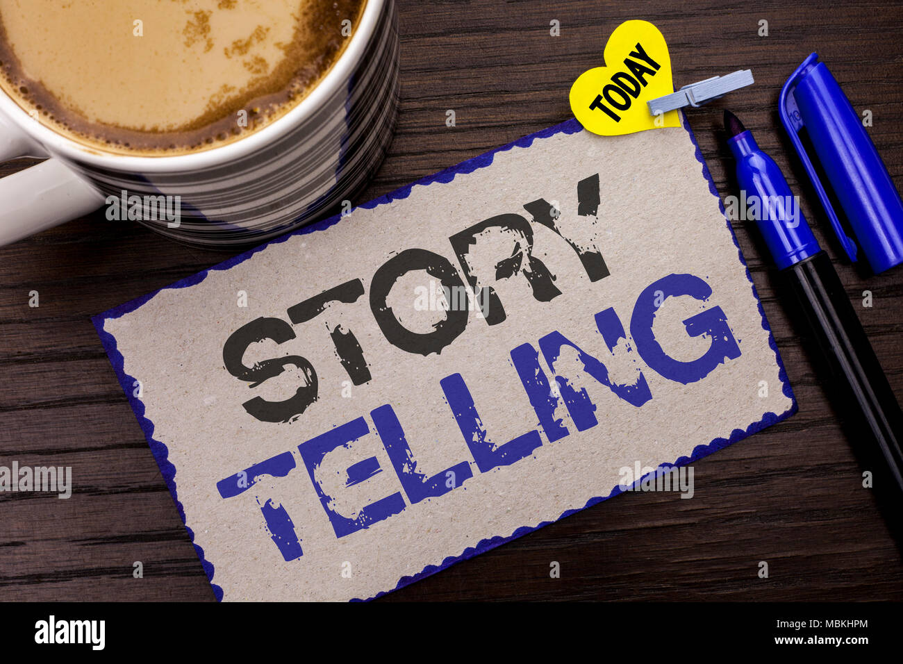 Conceptual hand writing showing Story Telling. Business photo showcasing Tell or write short Stories Share Personal Experiences written Sticky Note wo - Stock Image