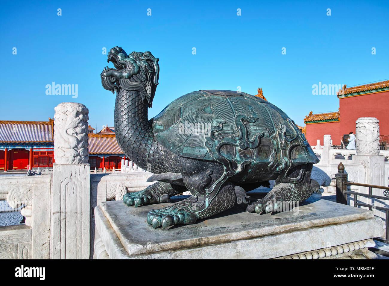 Bronze Tortoise Statue In Forbidden City Beijing