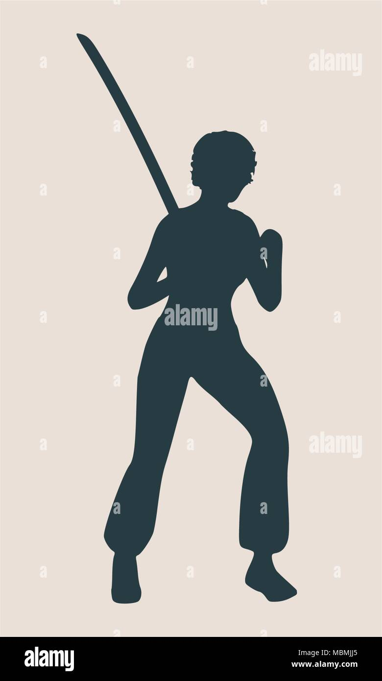 Karate Martial Art Silhouette Of Woman With Sword   Stock Image