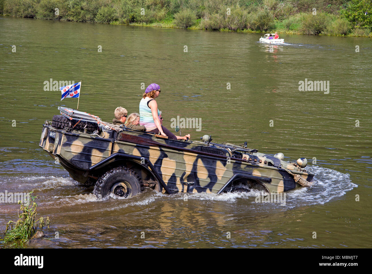 Military amphibious vehicle on Moselle river at Bruttig-Fankel, Rhineland-Palatinate, Germany Stock Photo