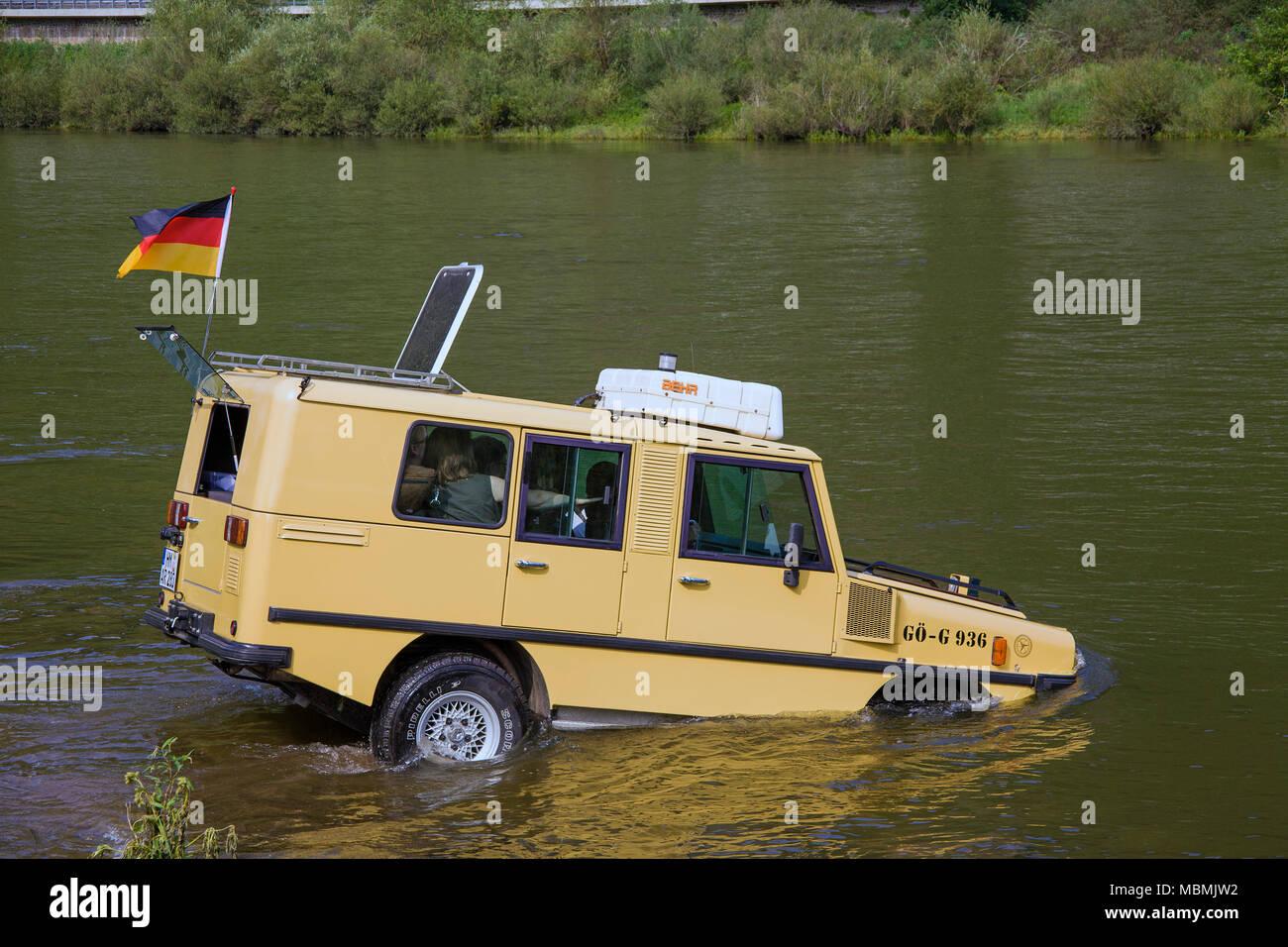 Amphi-Ranger, a german amphibian vehicle on Moselle river at Bruttig-Fankel, Rhineland-Palatinate, Germany Stock Photo