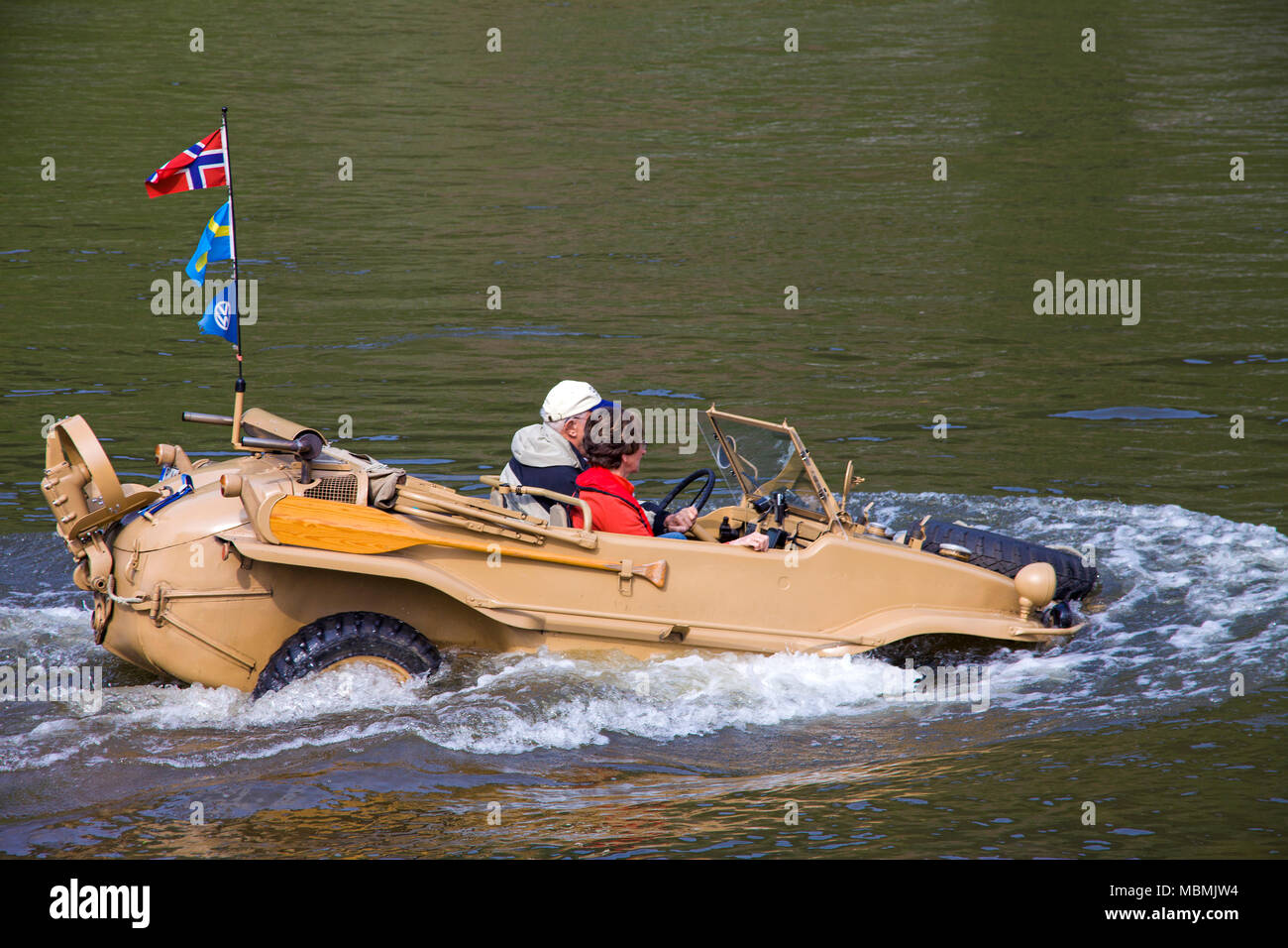 VW Typ 166, a german amphibious vehicle built at the 2nd world war on Moselle river, Bruttig-Fankel, Rhineland-Palatinate, Germany Stock Photo