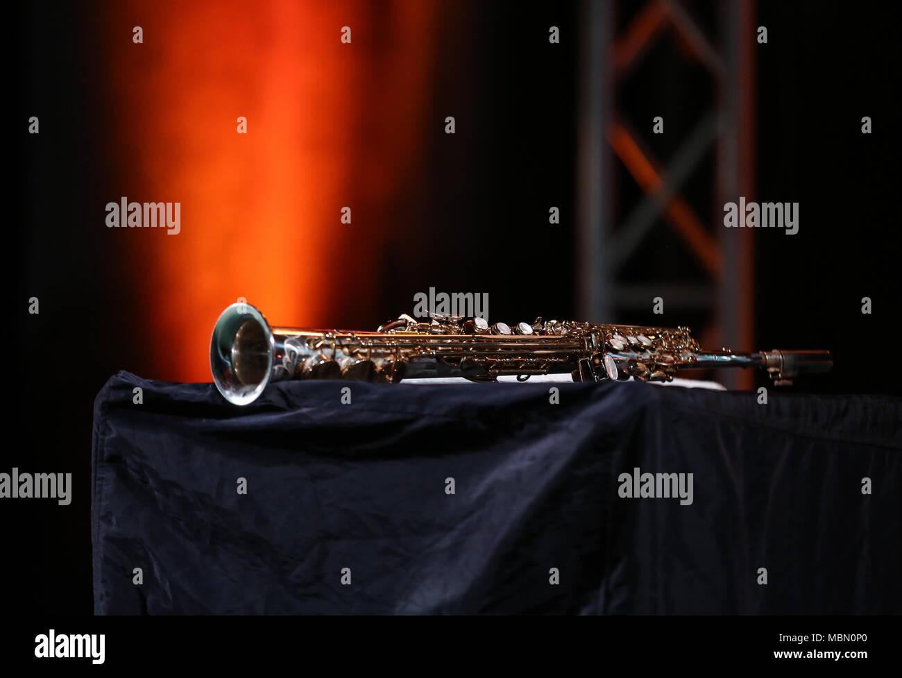 Saxophone soprano jazz music instrument - Stock Image