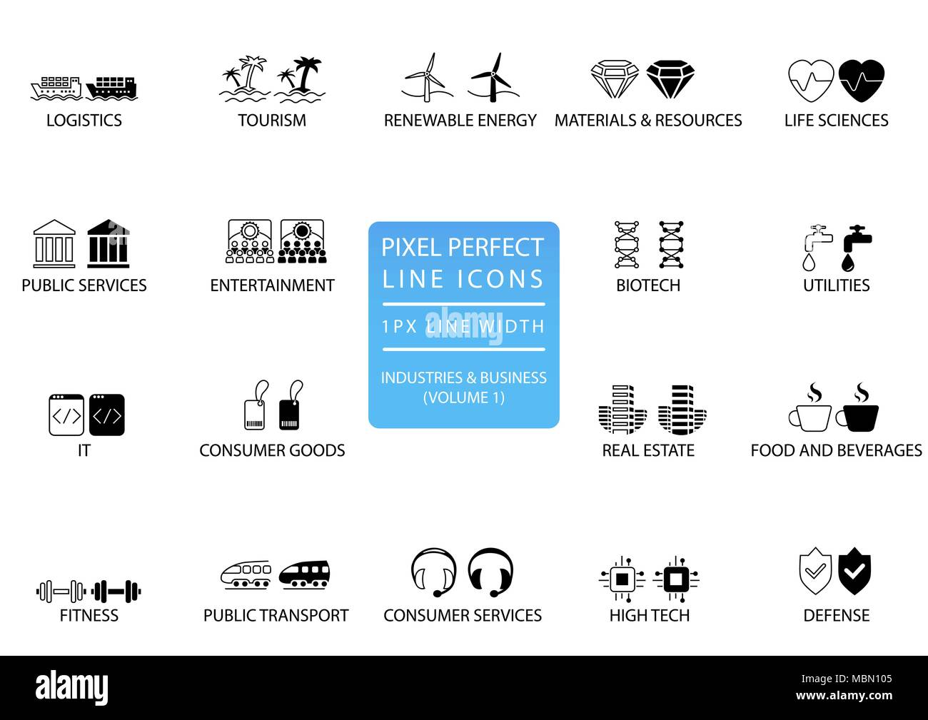 pixel perfect thin line icons and symbols of various