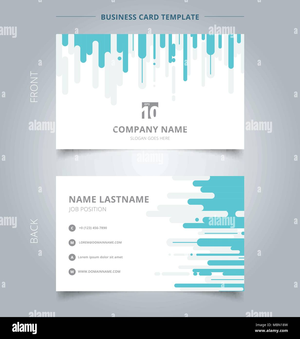 creative business card and name card template blue and gray rounded