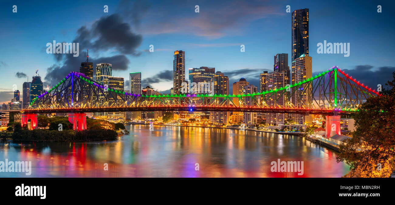 Brisbane. Cityscape image of Brisbane skyline panorama, Australia during dramatic sunset. - Stock Image
