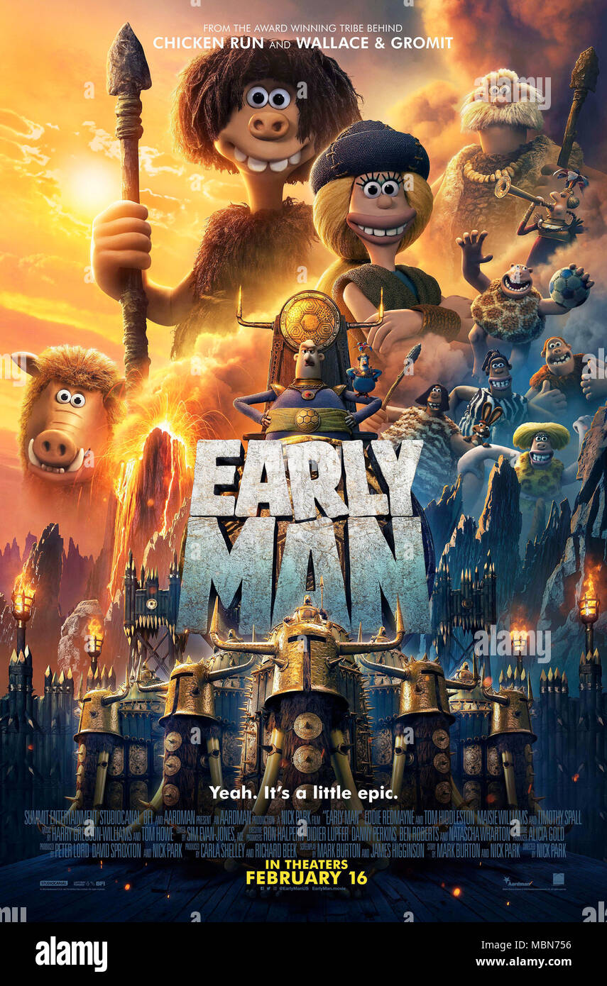 RELEASE DATE: February 16, 2018 TITLE: Early Man STUDIO: Lionsgate DIRECTOR: Nick Park PLOT: Set at the dawn of time, when prehistoric creatures and woolly mammoths roamed the earth, Early Man tells the story of Dug, along with sidekick Hognob as they unite his tribe against a mighty enemy Lord Nooth and his Bronze Age City to save their home. STARRING: Tom Hiddleston, Eddie Redmayne, Maisie Williams. (Credit Image: © Lionsgate/Entertainment Pictures) - Stock Image