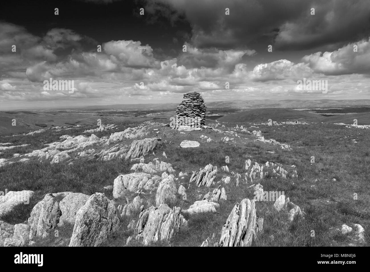 Cairns on Artle crag, Branstree Fell, Mardale Common, Lake District National Park, Cumbria County, England, UK - Stock Image