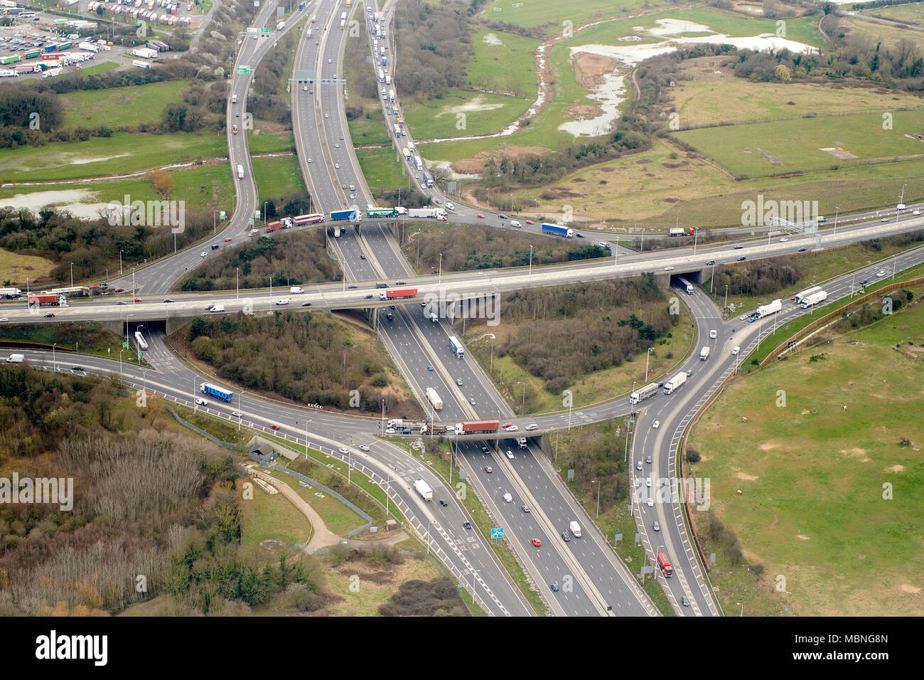 Junction 30 M25. A13 and M25 Junction, from the air, Essex, SE England UK - Stock Image