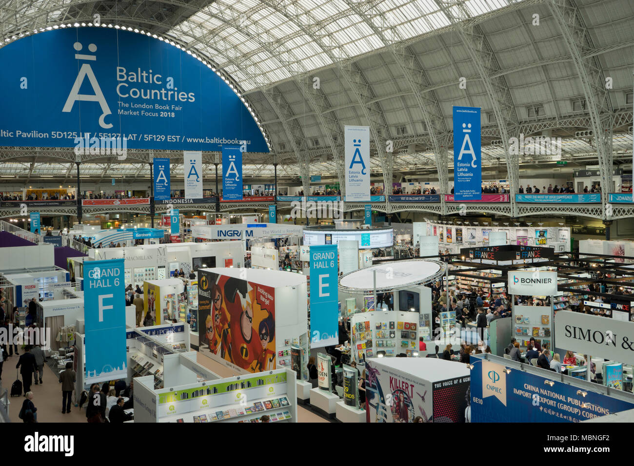 London,UK.10th April 2018. Exhibitors and visitors at the London Book Fair 2018 at the Olympia Exhibition Centre. London. Stock Photo