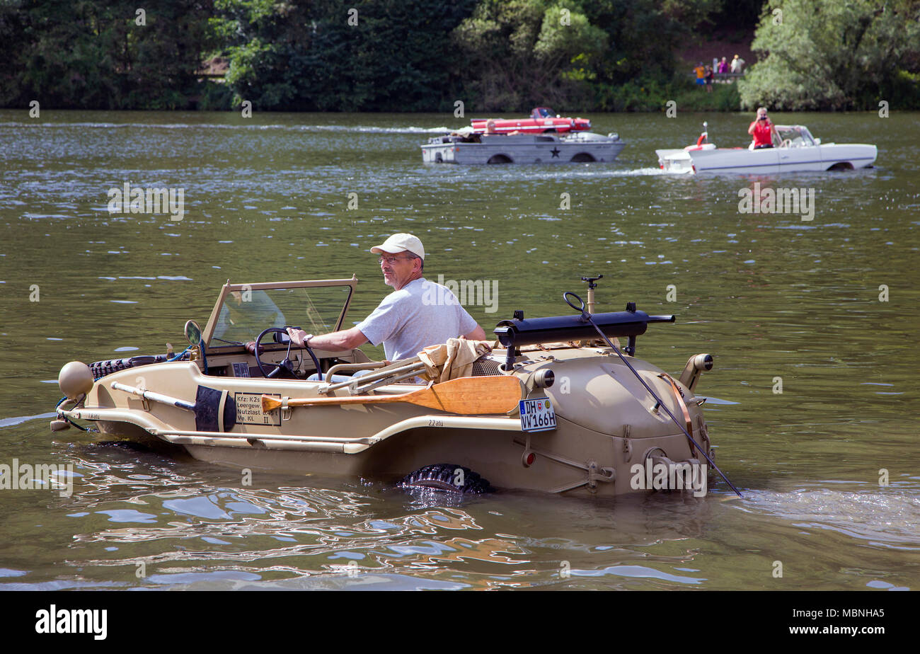 VW Typ 166, german amphic car built at the 2nd world war, drives on Mosel river, Minheim, Rhineland-Palatinate, Germany, Europe - Stock Image