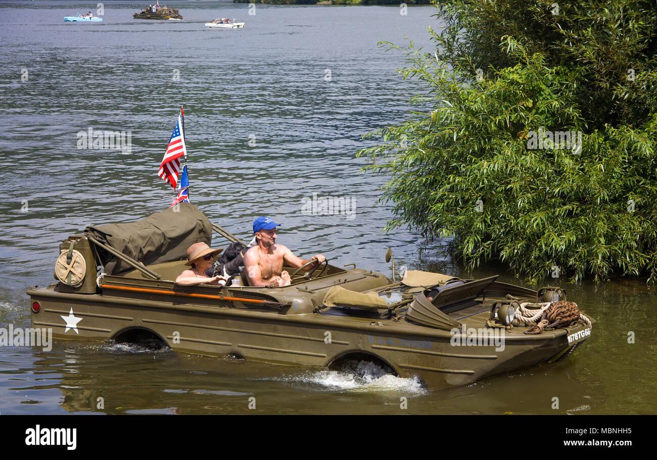 Military amphibious vehicle on Moselle river at Neumagen-Dhron, Rhineland-Palatinate, Germany Stock Photo