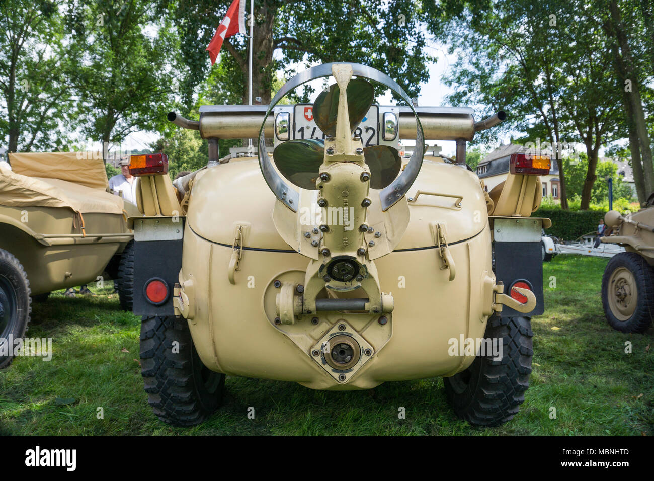 Backside of a VW Typ 166, a german amphibious vehicle built at the 2nd world war, exhibition at Moselle river, Rhineland-Palatinate, Germany - Stock Image