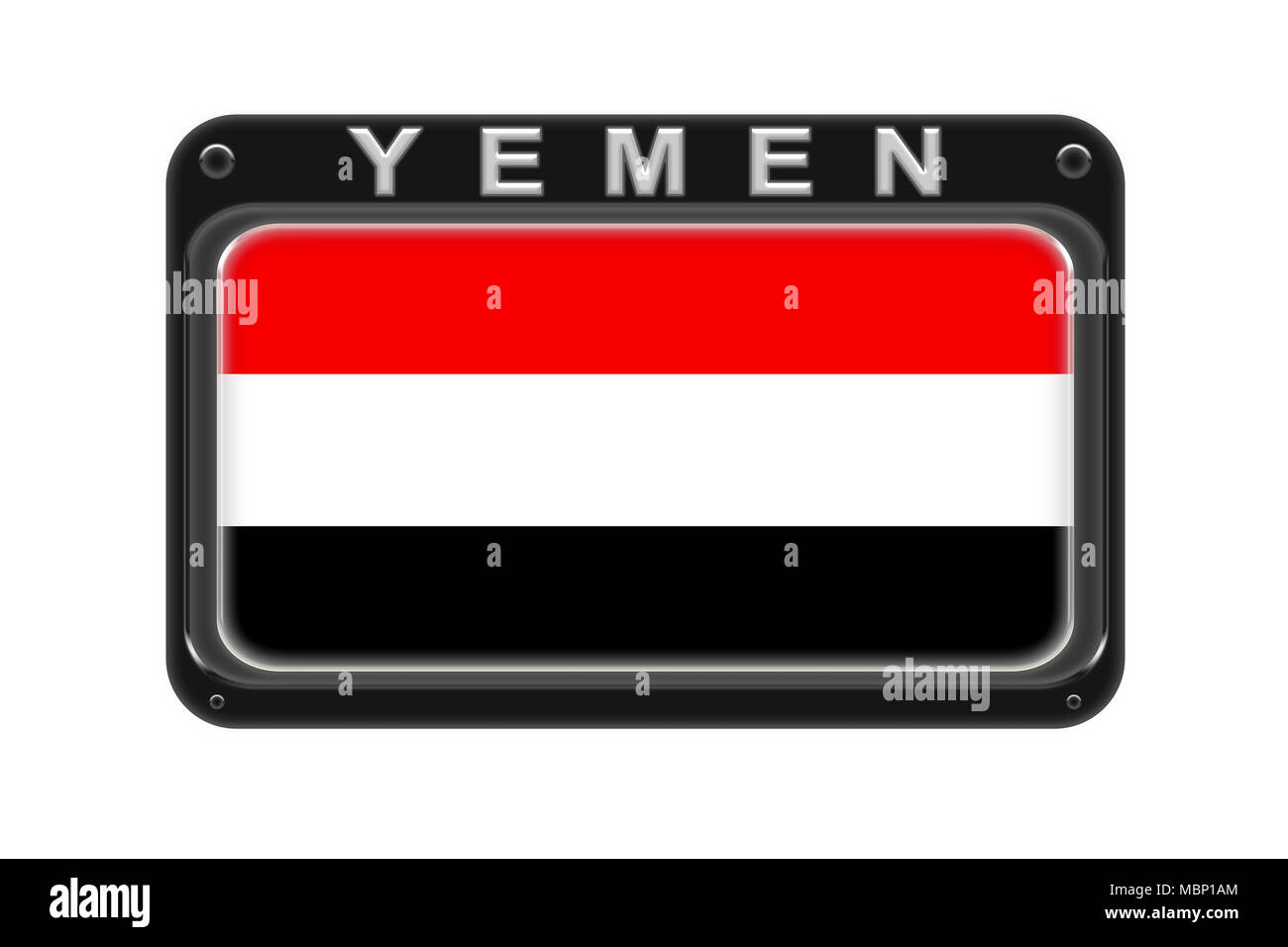 Surround the flag of Yemen in the frame with rivets on white background Stock Photo