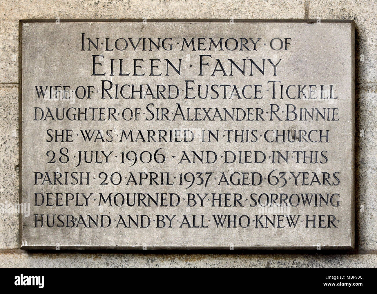 London, England, UK. St Mary Abbot's Church, Kensington. Commemorative plaque to Eileen Fanny Tickell, wife of Richard Eustace Tickell, daughter of Si - Stock Image