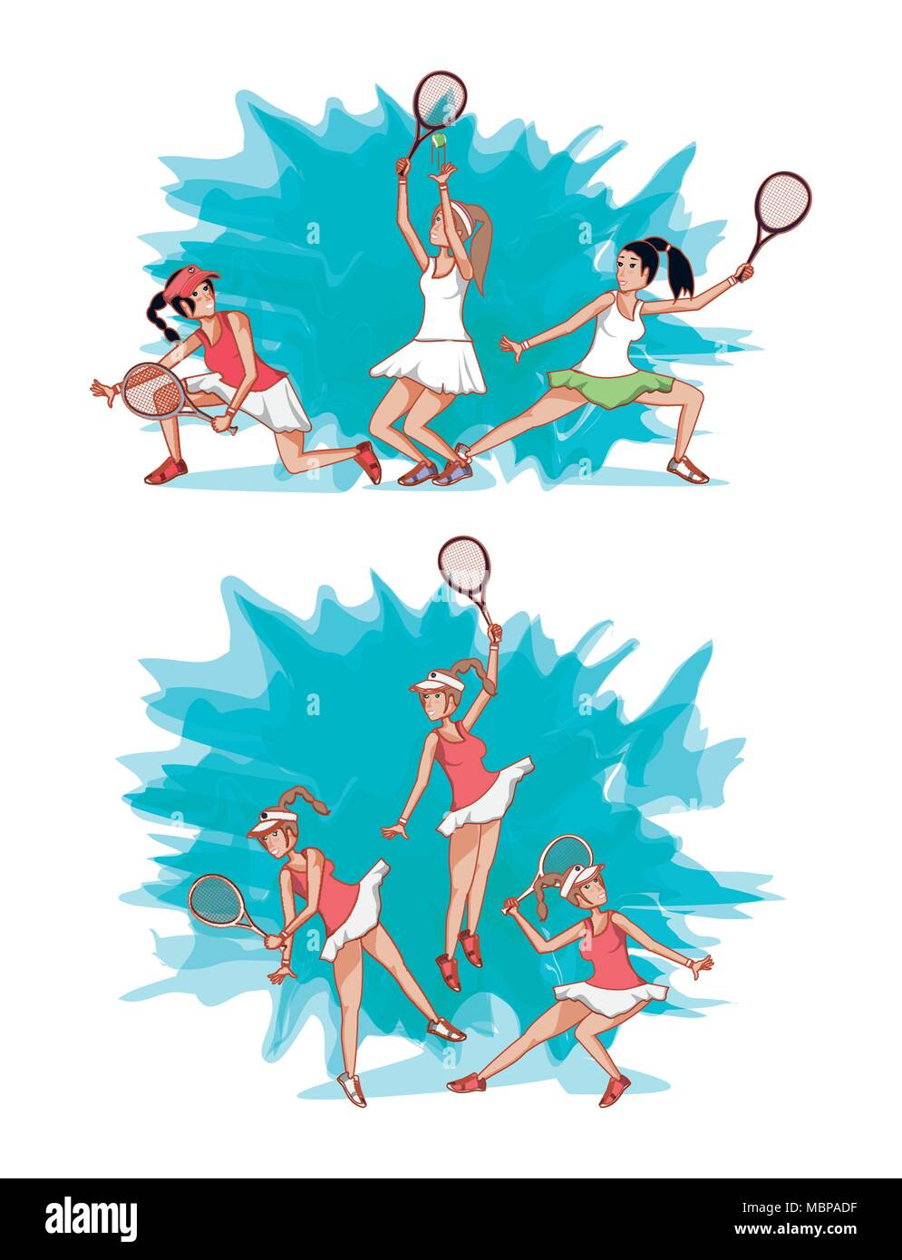 women playing tennis characters vector illustration design - Stock Vector
