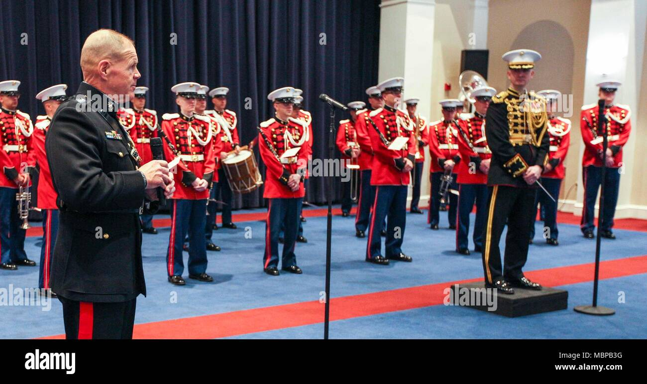 Commandant of the Marine Corps Gen. Robert B. Neller speaks to guests during the 2018 Surprise Serenade at Marine Barracks Washington, Washington, D.C., Jan. 1, 2018. The Surprise Serenade is a tradition that dates back to the mid-1800's in which the U.S. Marine Band performs music for the Commandant of the Marine Corps at his home on New Years Day. (U.S. Marine Corps photo by Sgt. Olivia G. Ortiz) Stock Photo