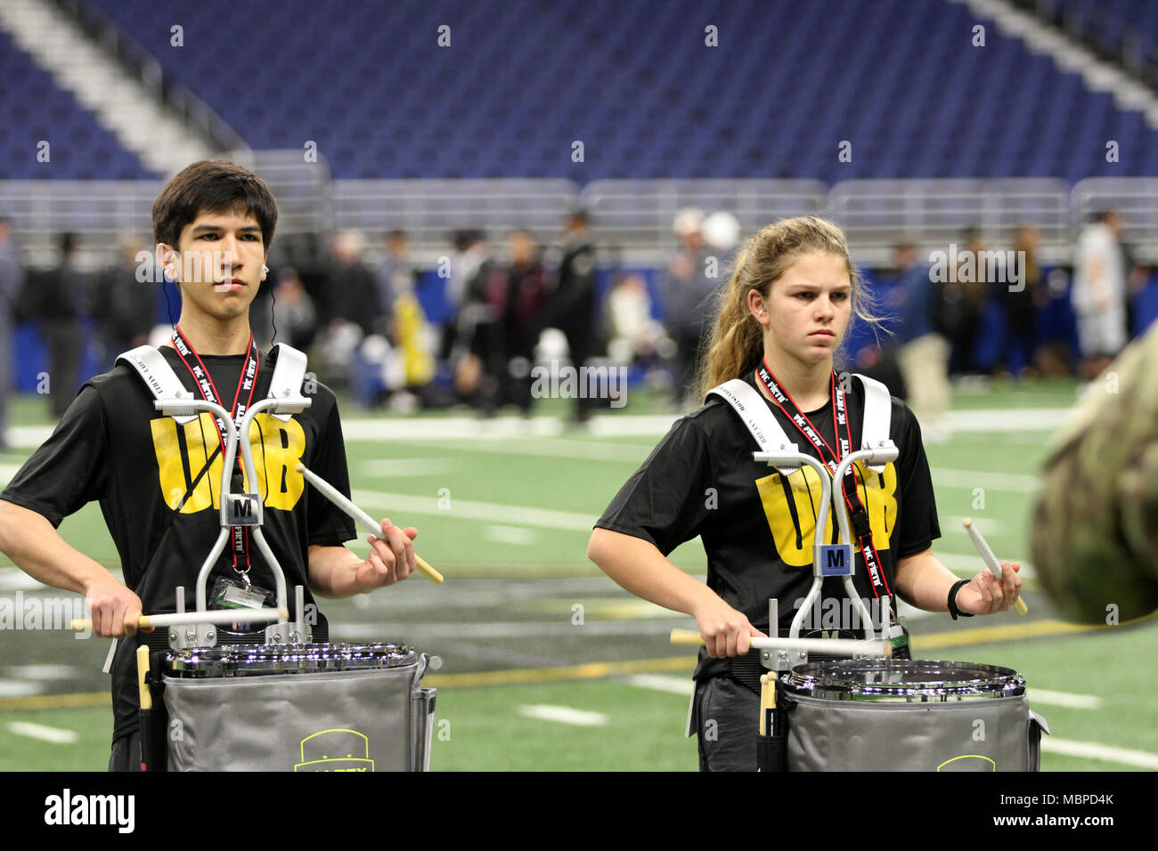 SAN ANTONIO, Texas - Drummers in the 2018 U.S. Army All-American Bowl band rehearse as a whole ensemble for the first time during bowl-week, Jan. 2, 2018. The AAB program demonstrates the Army's commitment to America's youth and increases awareness of Army service opportunities. Stock Photo
