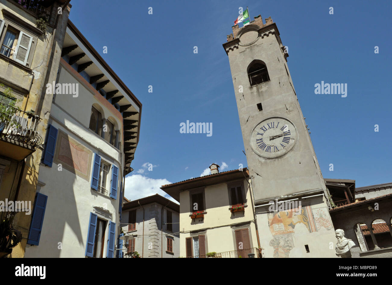 Torre Civica, clock tower in Lovere, lake Iseo, Lombardy, Italy - Stock Image