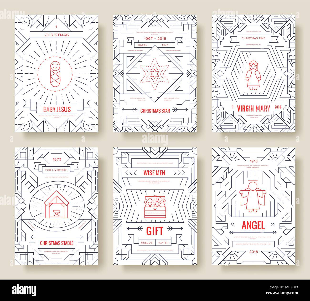 Merry Christmas Thin Line Vector Brochure Cards Set Birth Of Christ