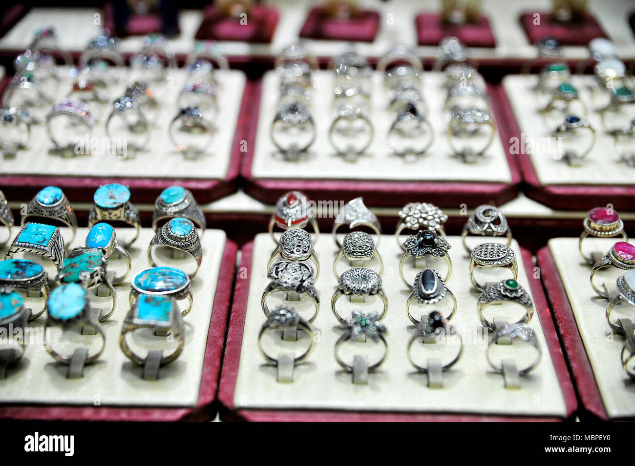 Jewelery exhibition in the bazaar, Esfahan - Iran - Stock Image
