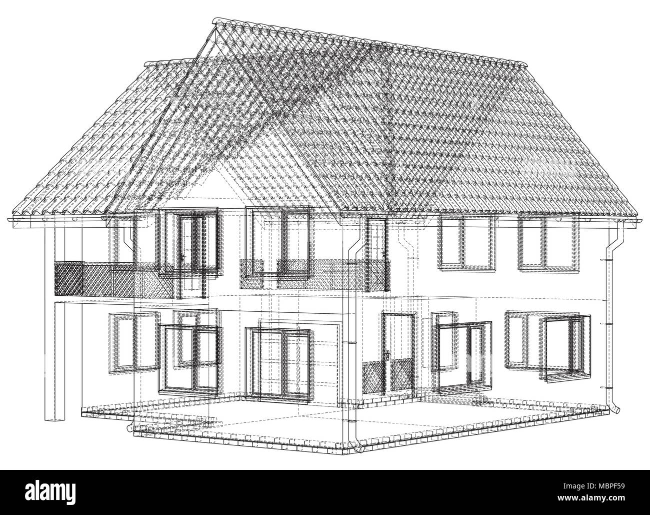 House wire blueprint - isolated over a white background Stock Vector ...
