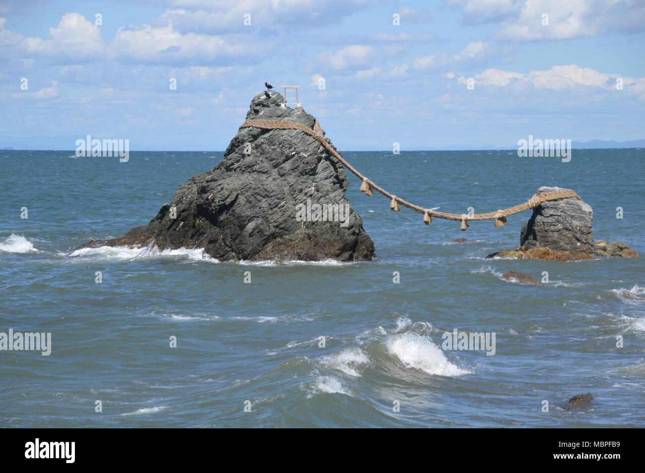 Meoto Iwa (Wedded Rocks) At Ise Japan - Stock Image