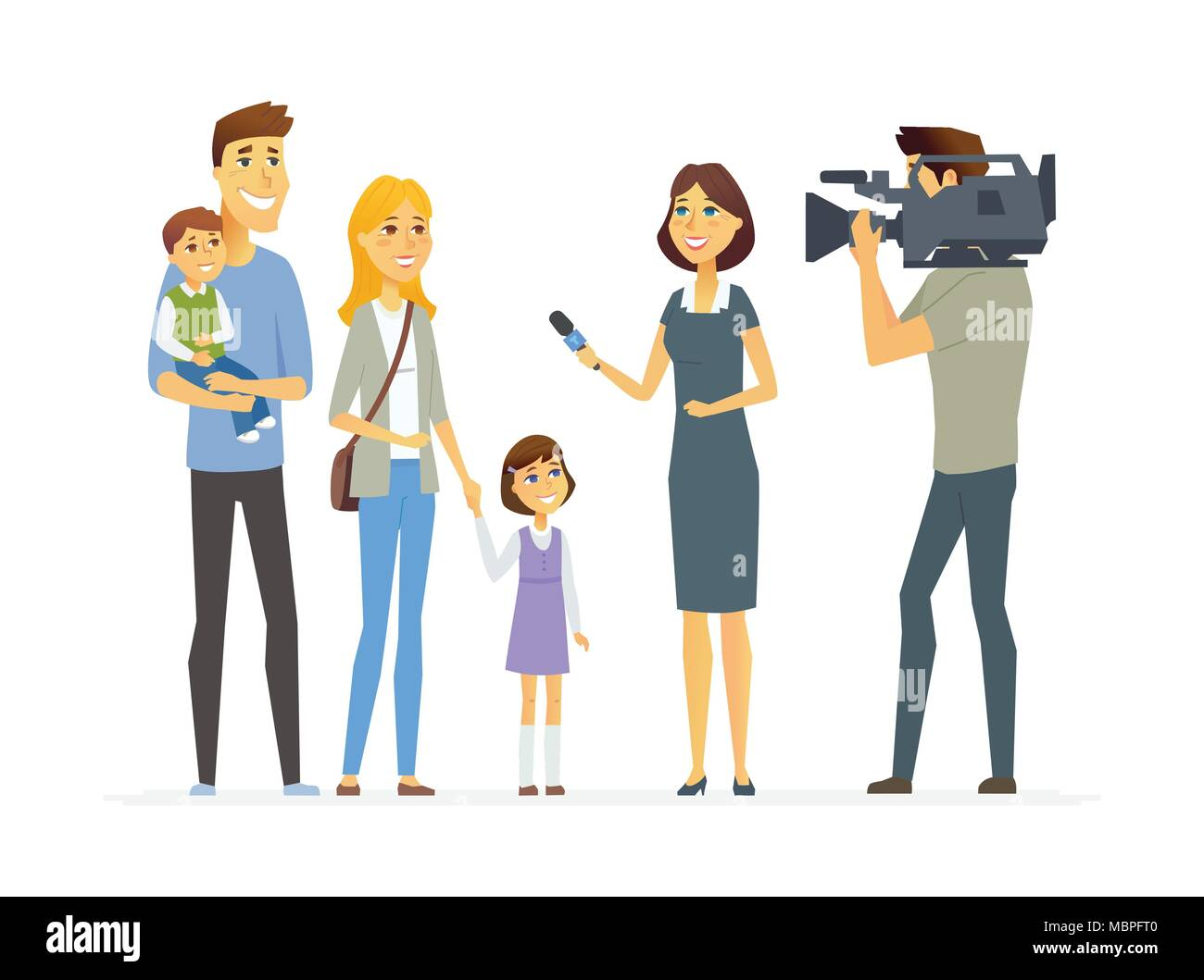 TV presenter interviewing young family - cartoon people character isolated illustration - Stock Vector