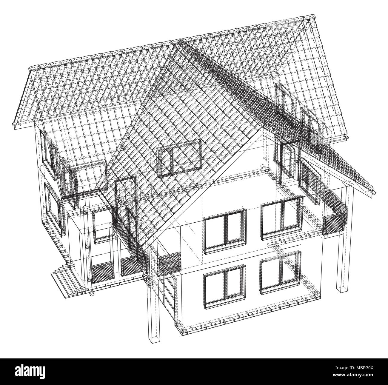 Wireframe blueprint drawing of 3d house vector illustration stock wireframe blueprint drawing of 3d house vector illustration malvernweather Choice Image