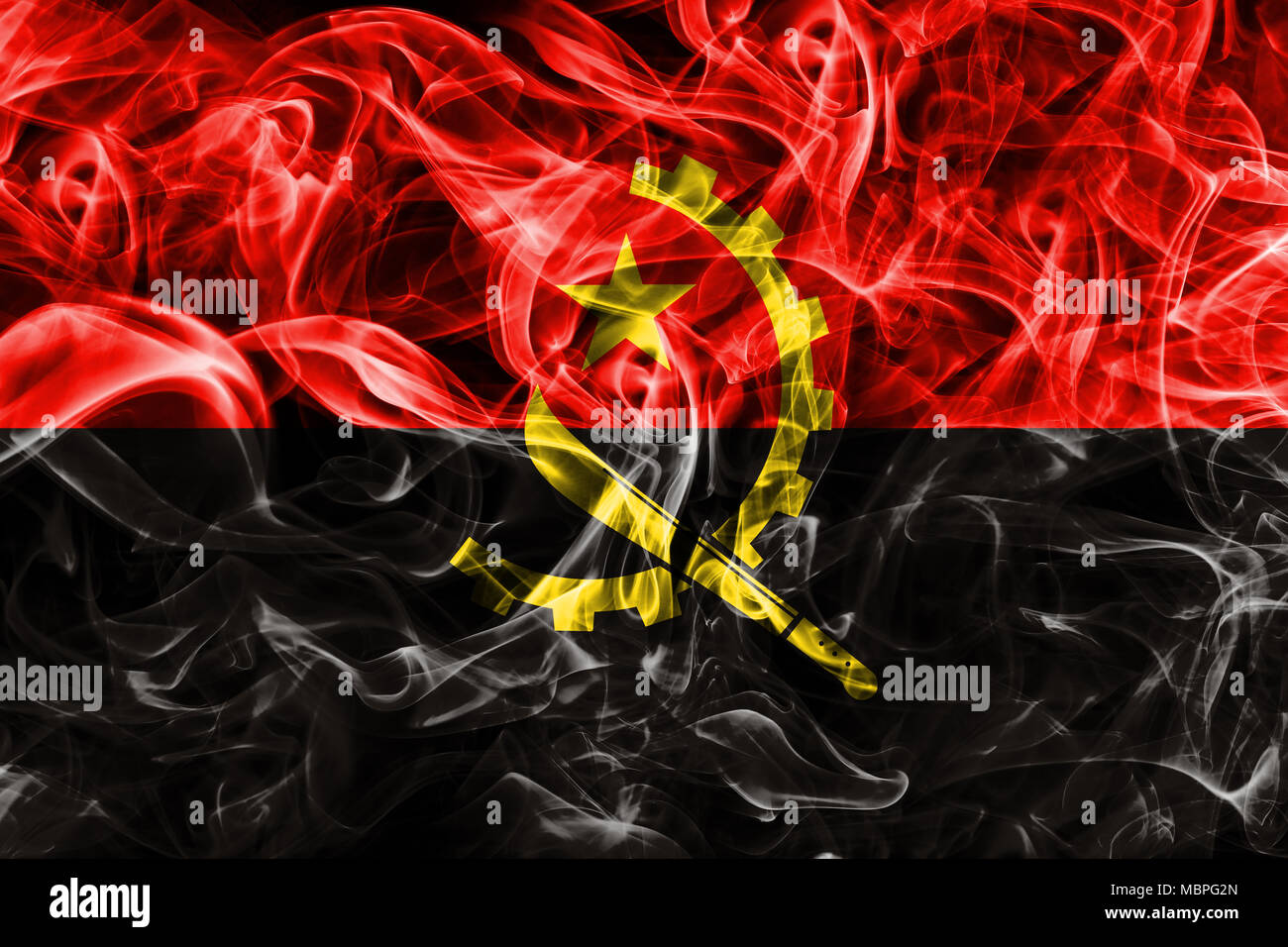 Angola smoke flag - Stock Image