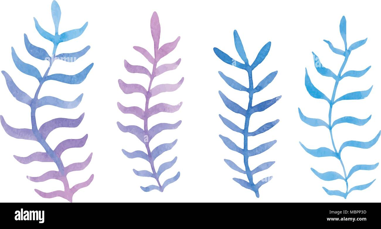 Hand drawn watercolor blue twig set on the white background. Vector. - Stock Vector