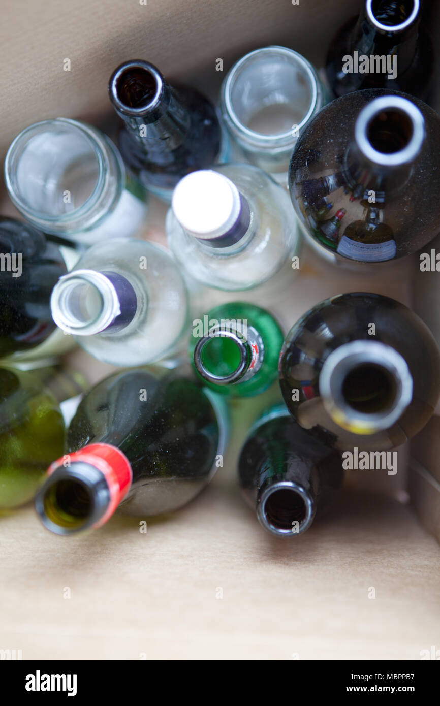Glass bottles and jars boxed up ready for recycling Stock Photo
