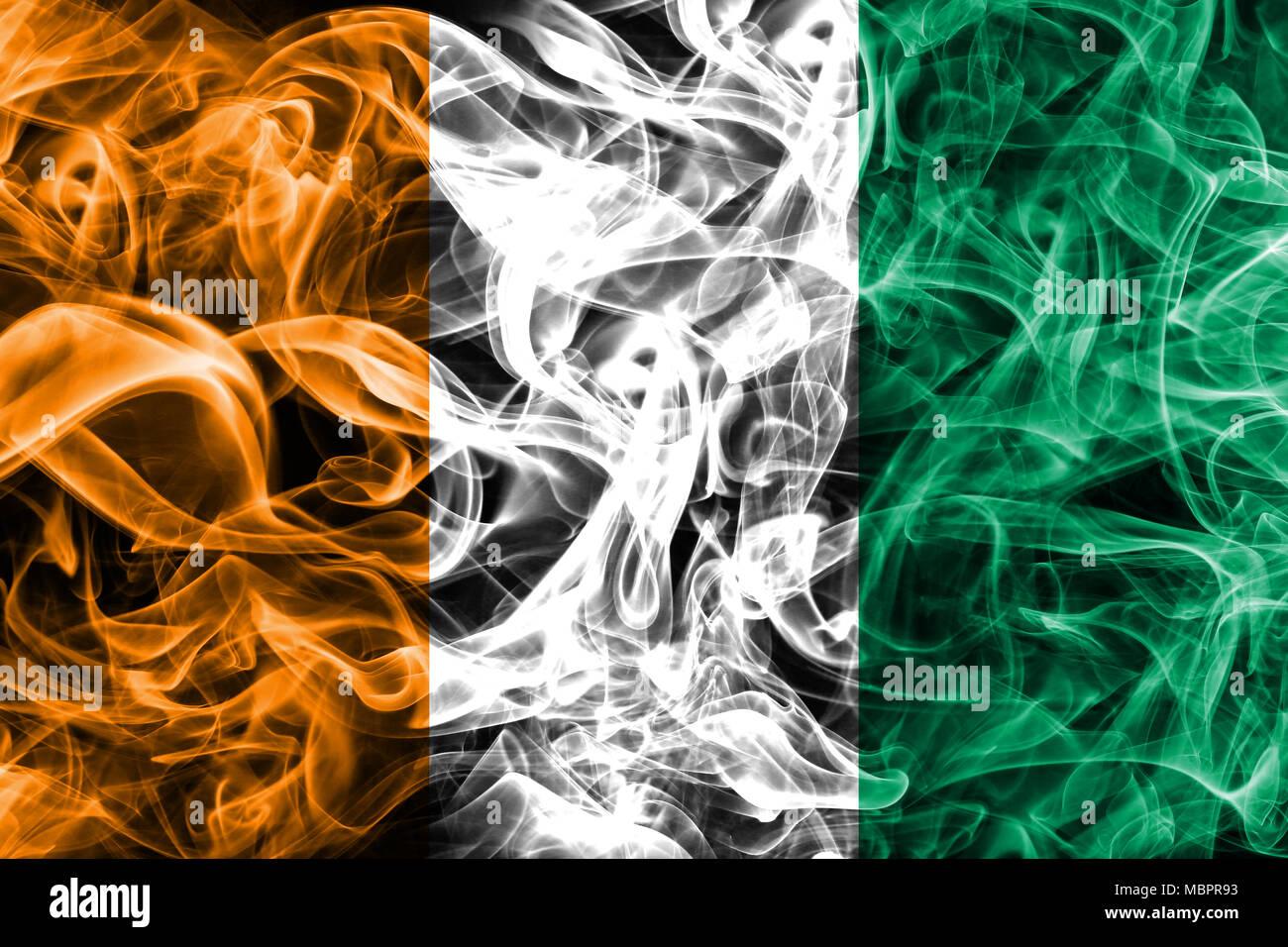 Côte d'Ivoire smoke flag - Stock Image