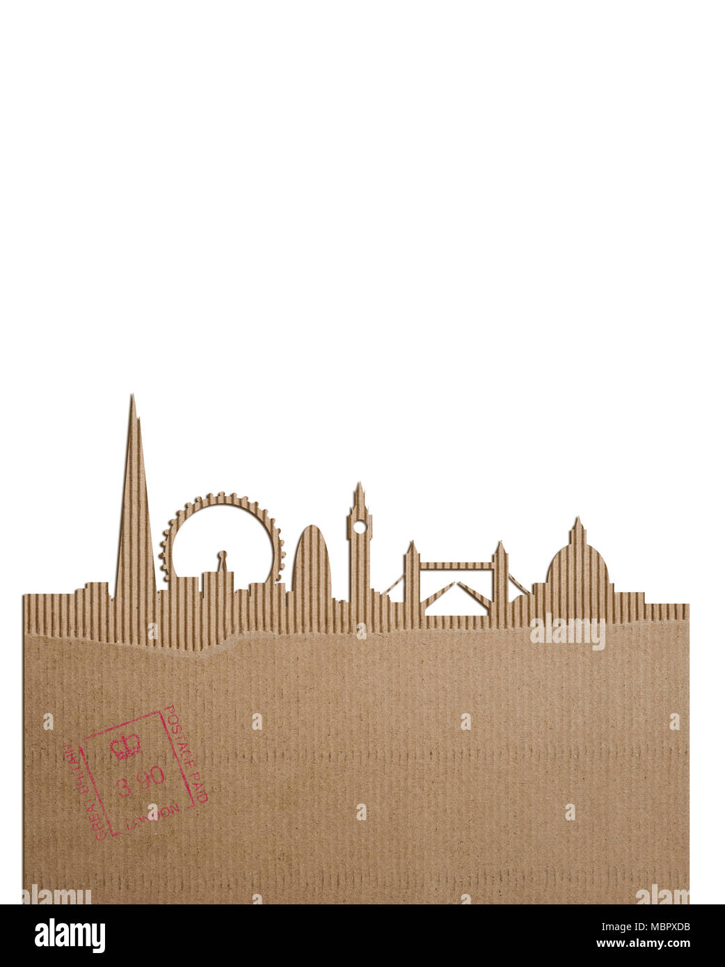 A cardboard cutout of the London skyline - Stock Image