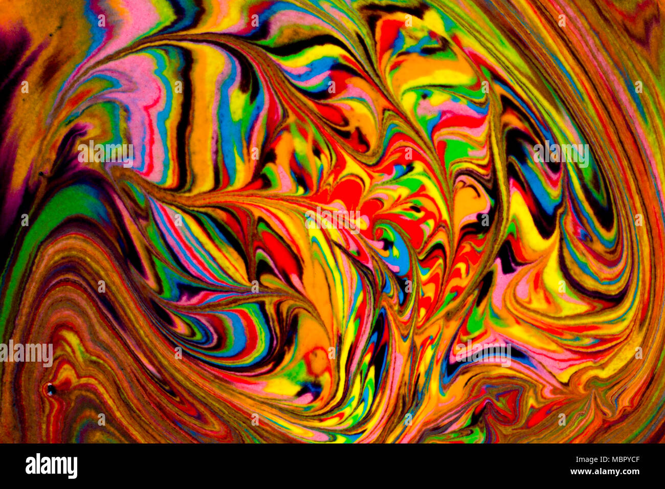 Colorful abstract acrylic painting. Natural dynamic mixture of oil colored pigments fluid flow background. Naturally blurred. Stock Photo