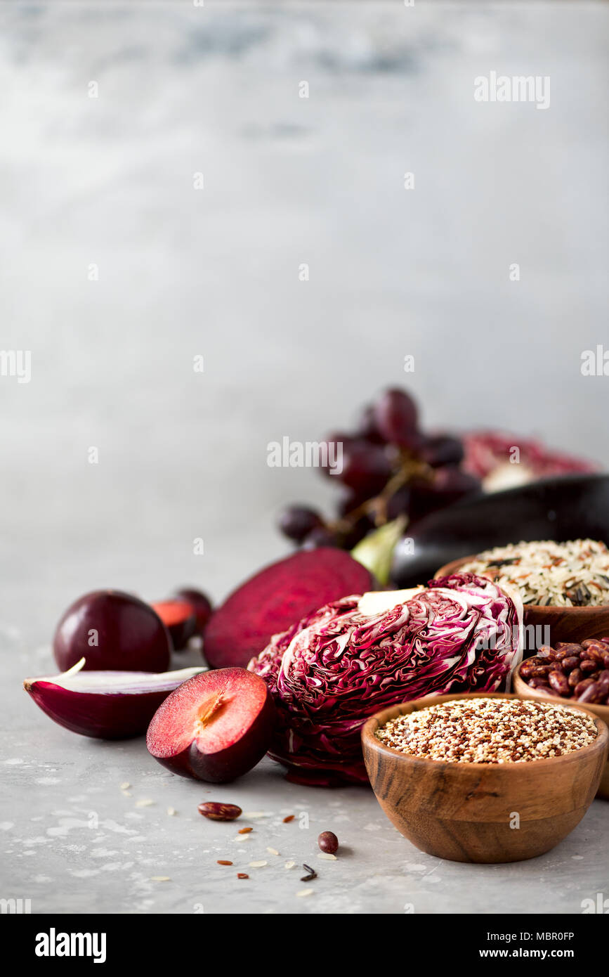 Ingredients For Cooking, Copy Space, Top View, Flat Lay. Purple Vegetables,