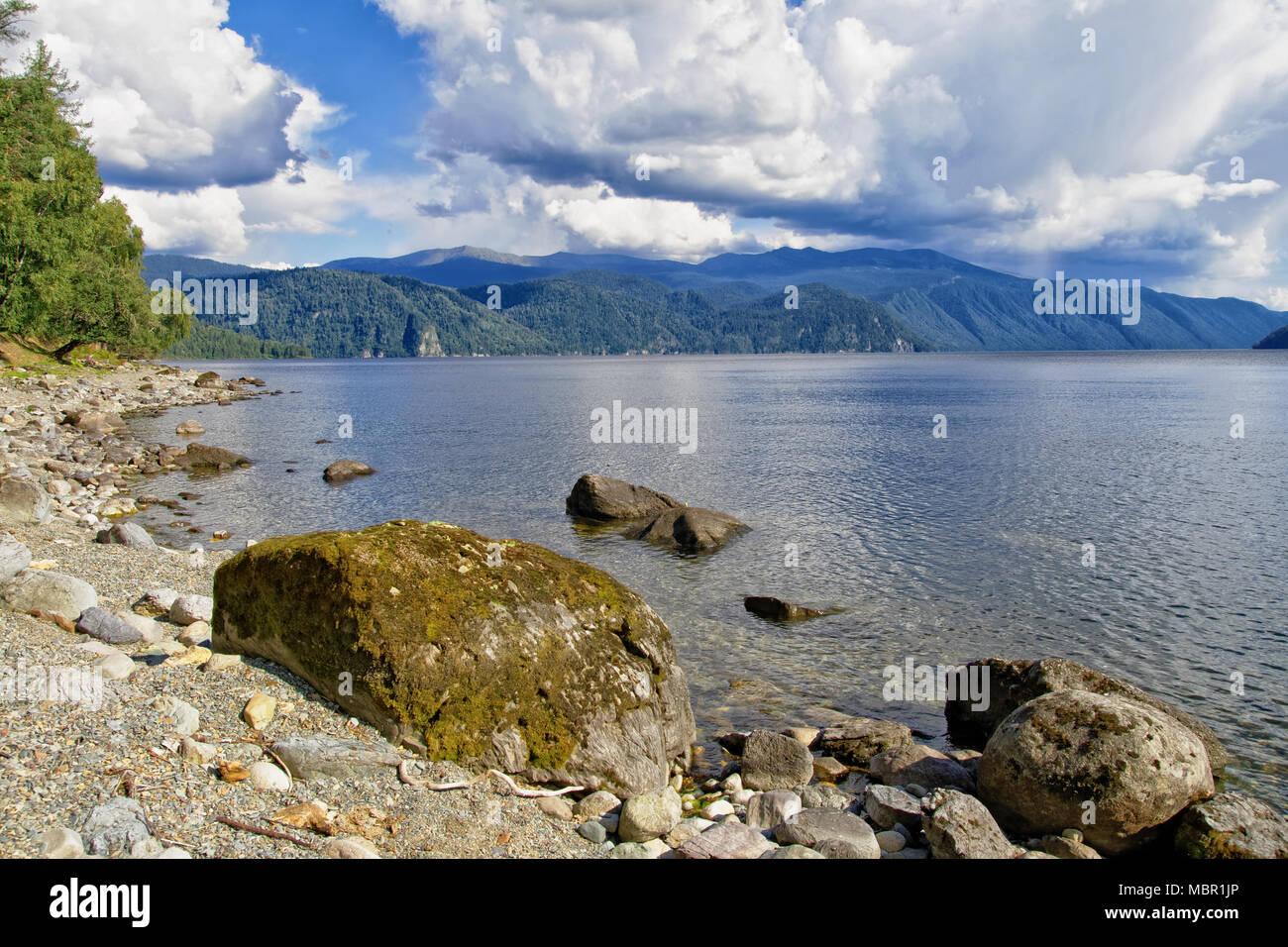 Teletskoye lake, Siberia. View of the natural Bay on the right Bank Stock Photo