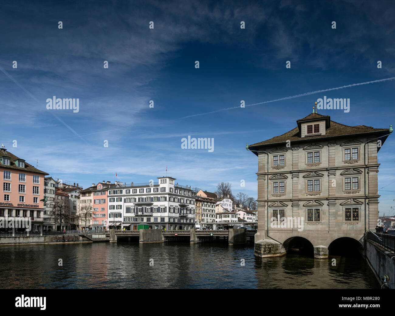 central zurich city old town and limmat river landmark view in switzerland - Stock Image