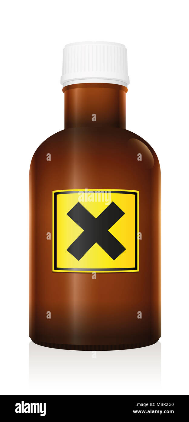 Harmful medicine. Bottle with warning hazard symbol because of irritant ingredients - illustration on white background. - Stock Image