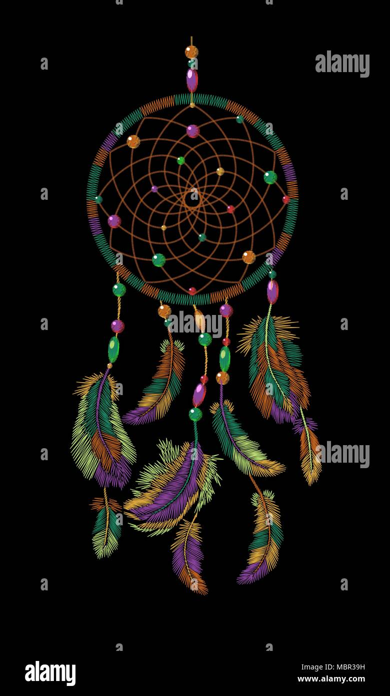 embroidery boho native american indian dreamcatcher feathers