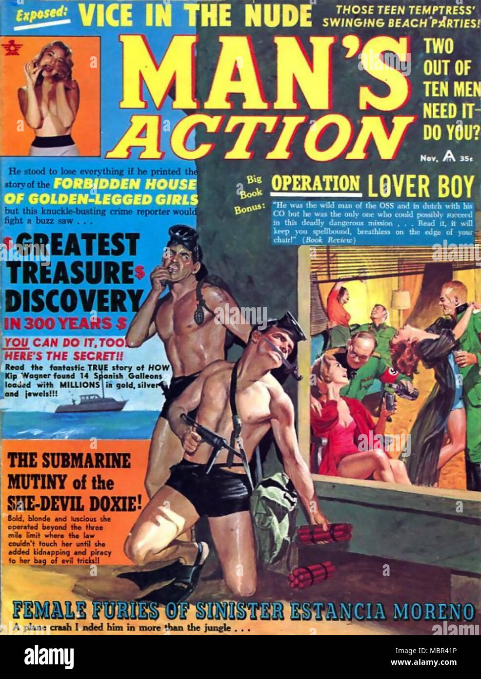 MAN'S ACTION American pulp fiction magazine  about 1975 - Stock Image