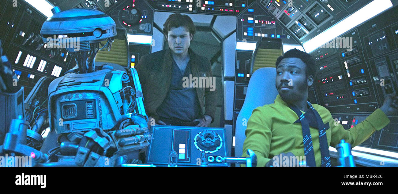 SOLO: A STAR WARS STORY 2018 Lucasfilm production with Donald Glover at right and Alden Ehrenreich - Stock Image