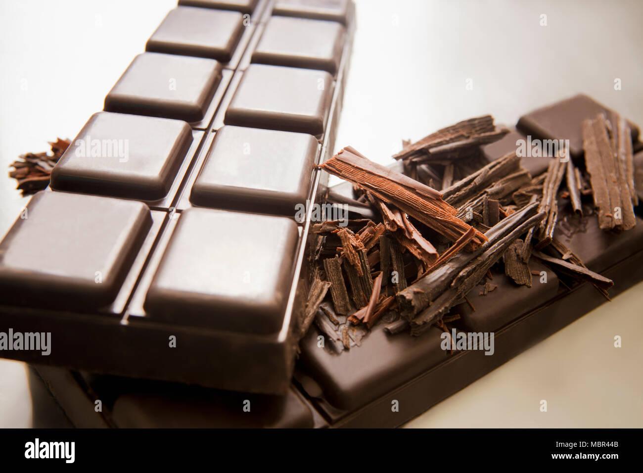Chocolate Bar and Chocolates Curls - Stock Image