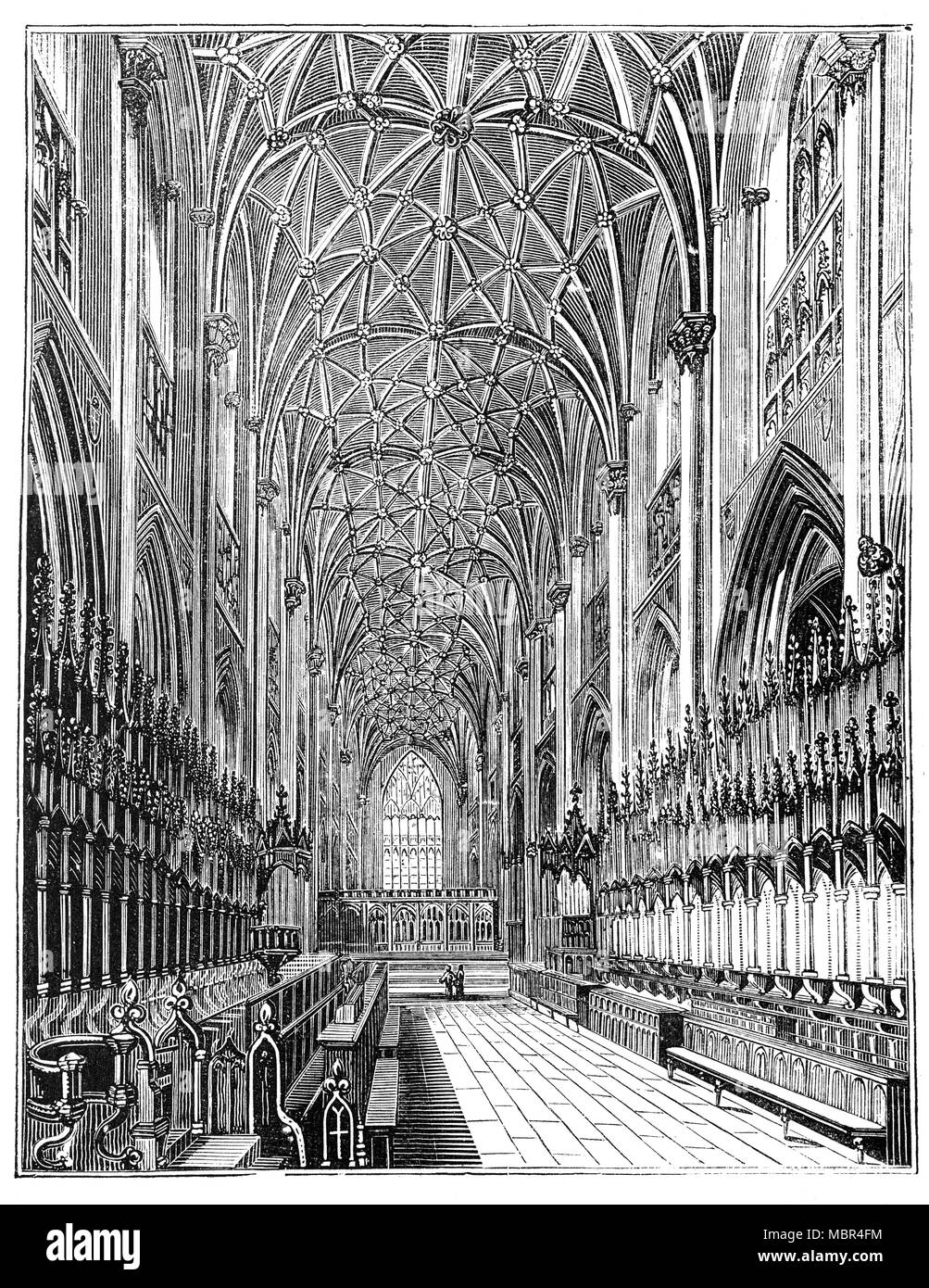 The interior and nave of the Cathedral and Metropolitan Church of Saint Peter in York, commonly known as York Minster. This English Cathedral in the Early English, Perpendicular style is one of the largest of its kind in Northern Europe. There's been many churches in the location. However in the mid 12th Century. Walter de Gray was made archbishop in 1215 and ordered the construction of a Gothic structure to compare to Canterbury; building began in 1220 and continued until declared complete and consecrated in 1472. - Stock Image