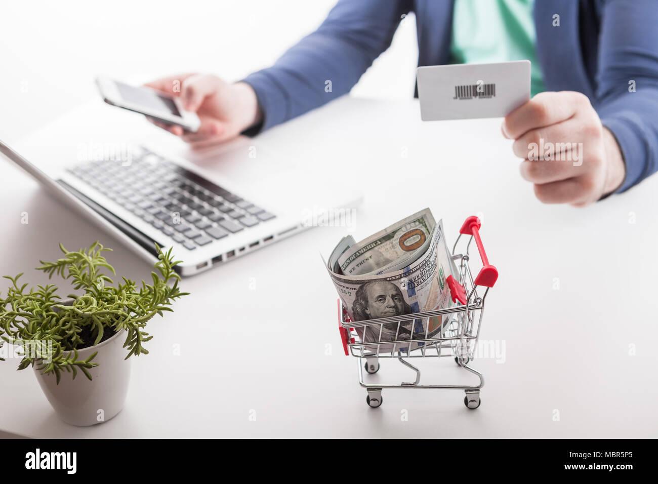 social network diagram as Online shopping concept Stock Photo