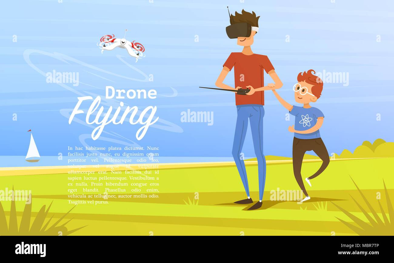 Remote control background. Modern drone concept for website, card and poster. Man teaches child to play outdoors in park. Radio robot, Video Technology. Piloting multicopter. Unmanned aerial vehicle. - Stock Vector