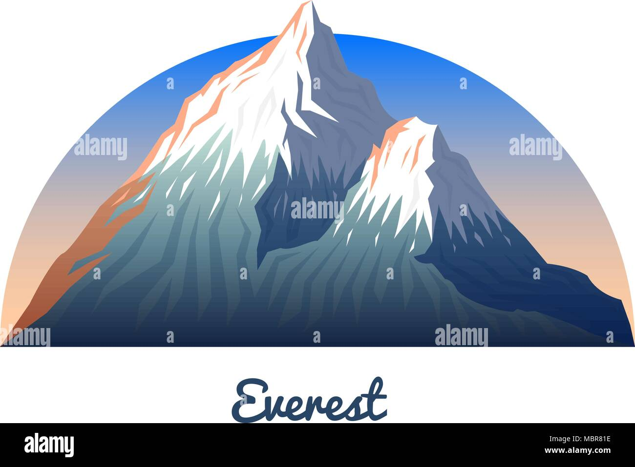 Mount Everest. Peaks and landscape early in a daylight. travel or camping, climbing. Outdoor hill tops. Sagarmatha national park, Khumbu valley, Nepal. - Stock Vector
