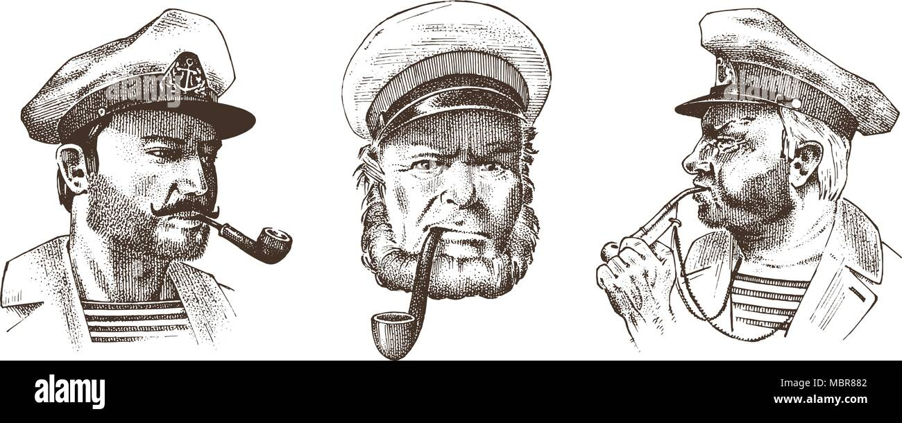 Boatswain with pipe. Portrait of a sea captain, Marine old sailor or bluejacket, whistle and seaman with beard or men seafarer. travel by ship or boat. engraved hand drawn in old vintage sketch. - Stock Image