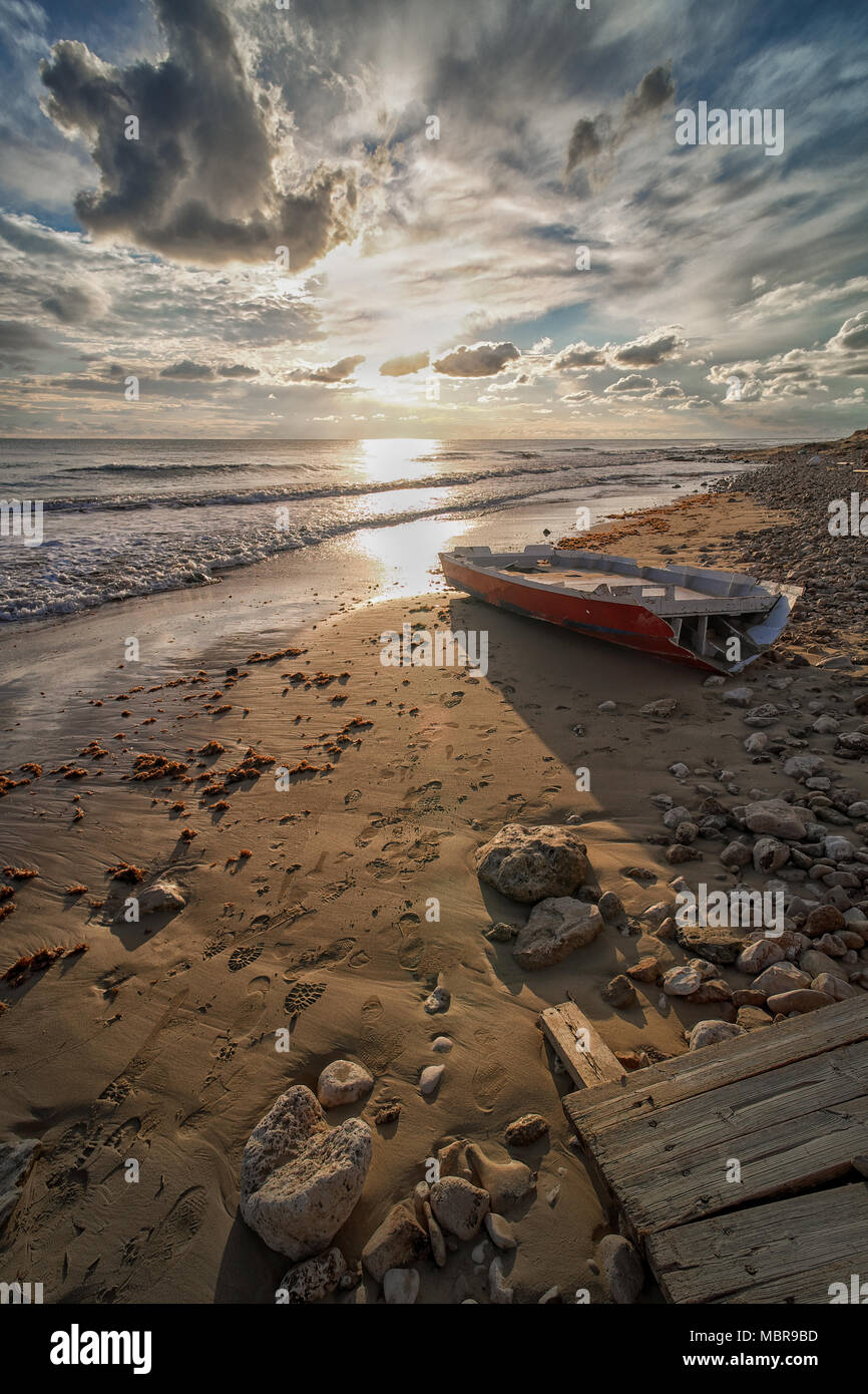 Panorama in spiaggia al tramonto - Stock Image